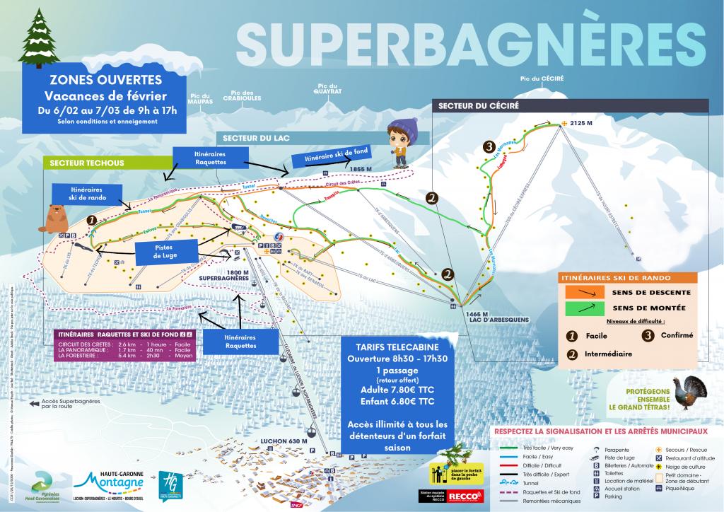 Plan février pistes Superbagnères